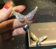 DIY accessories angel wings golden  pearl brooch male and female couples lovely Japanese pin