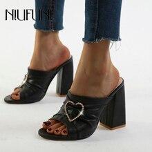 Peep Toe Plus Size 35-42 Rhinestone Solid Color Women's Slippers Sandals Fashion High Heels Ladies Slides NIUFUNI Women's Shoes