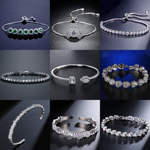 2021 New Fashion Luxury 925 Sterling Silver Tennis women's Bracelets Bangle For Women Christmas Gift Jewelry Wholesale S5877b