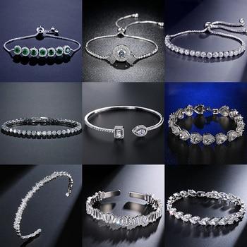 2021 New Fashion Luxury 925 Sterling Silver Tennis women's Bracelets Bangle For Women Christmas Gift Jewelry Wholesale S5877b