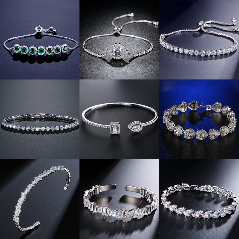 2021 nova moda luxo 925 prata esterlina tênis pulseiras femininas pulseira para presente de natal feminino jóias por atacado s5877b
