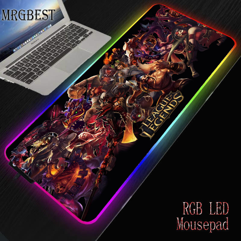 MRGBEST Cool League Of Legends Office Mice Gamer Soft Gaming Mouse Pad RGB Large Lockedge Mousepad LED Lighting USB