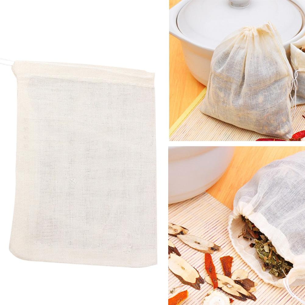 10/50/100Pcs 10x15cm Cotton Empty Teabag Drawstring Pouch Filter Herb Soup Bags For Chinese Herbal Medicine Coffee Foot Bath