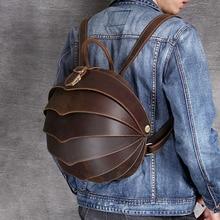 Luufan Personality Beetle Backpack Men Women Small Genuine Leather Daypack Schoolbag Backpacks Cowskin Summer Bag Travel mochila