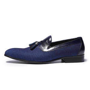 Image 3 - Spring Autumn Mens Dress Shoes Denim Stitching Genuine Leather Wedding Party Banquet Formal Men Blue Loafers With Tassel