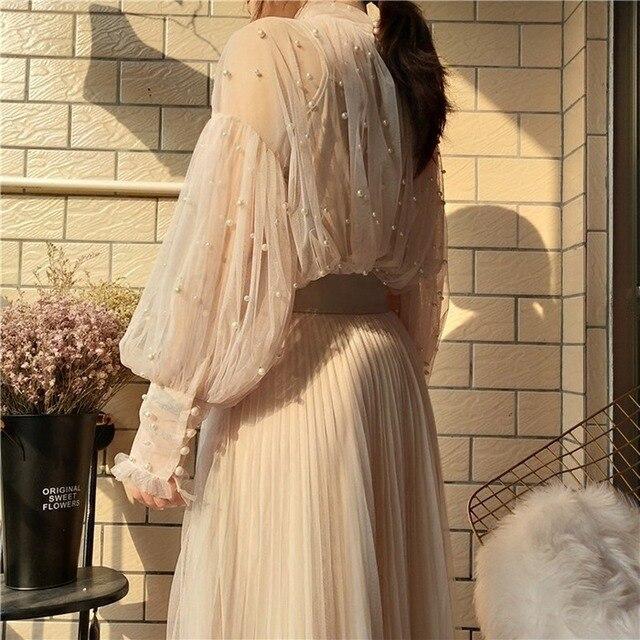 Spring Beading Mesh Blouses Women Sweet Lantern Sleeve Pearls Gauze Blouses Ladies Elegant Shirt Tops Stand Collar Chiffon S-2XL 2
