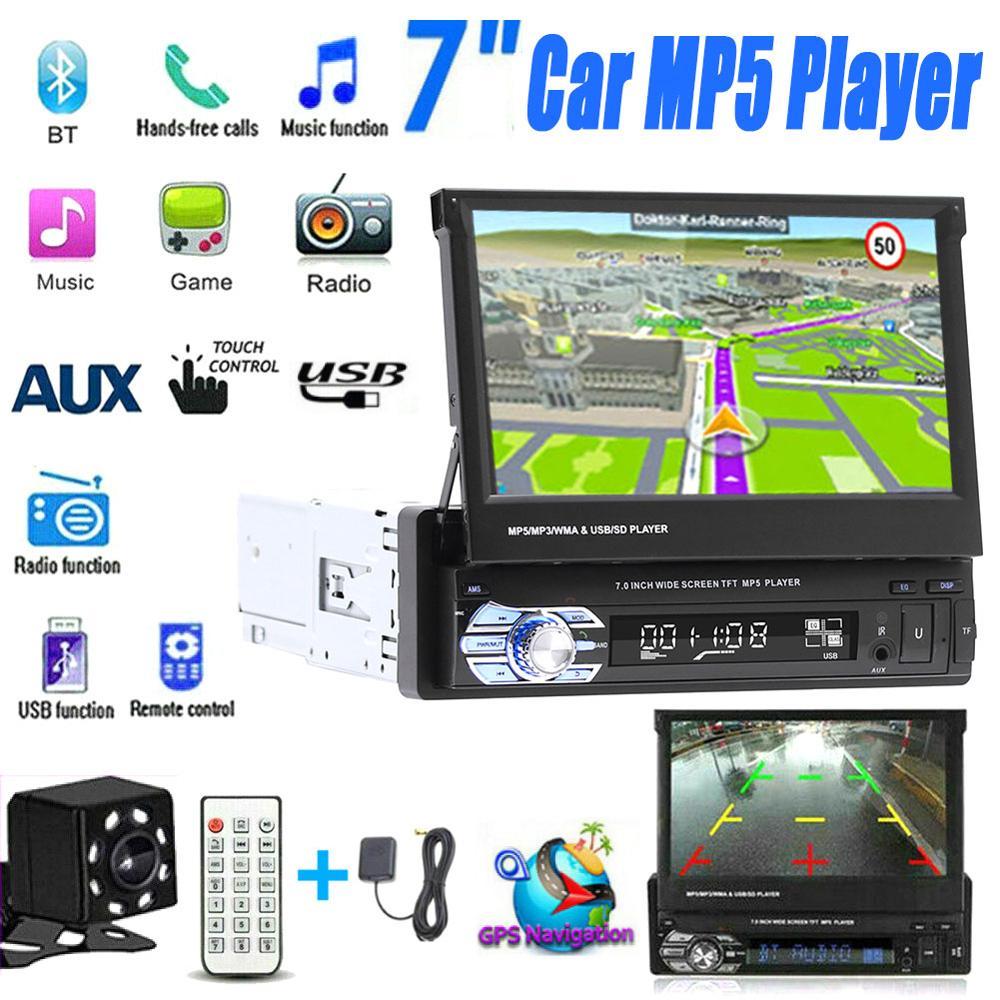 7-дюймовый автомобильный стерео аудио-радиоприемник GPS-навигация выдвижной Авторадио с BT DVD MP5 SD FM USB-плеером камера заднего вида