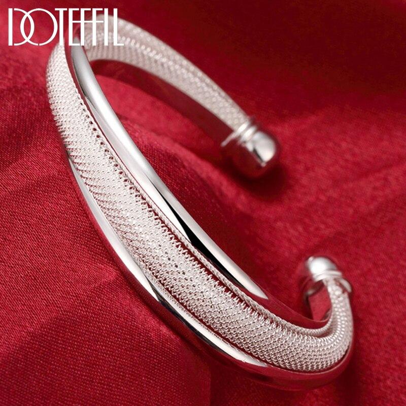 DOTEFFIL 925 Sterling Silber Modeschmuck Große Netzartige Armband Frauen Armreif Hochzeit Engagement Schmuck