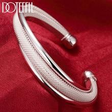 DOTEFFIL 925 Sterling Silver biżuteria duża siatkowa bransoletka kobiety bransoletka ślubna biżuteria zaręczynowa
