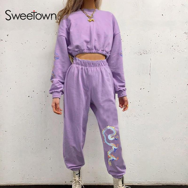 Sweetown Dragon Print Baggy Harem Pants Women Jogger Sweatpants Casual Elastic High Waist Trousers Female Hip Hop Streetwear