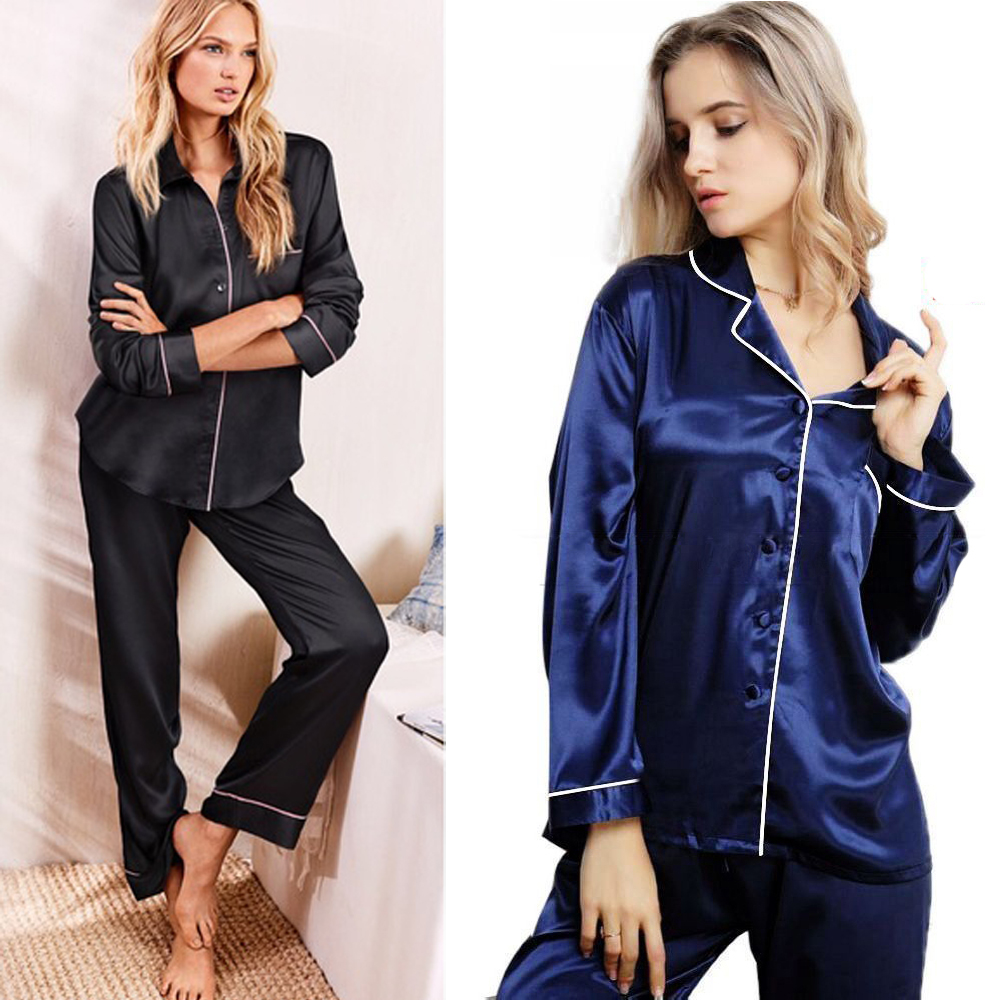 New Fashion Casual Women's Silk Satin Pajamas Pyjamas Set Long Sleeve Sleepwear Pijama Pajamas Suit