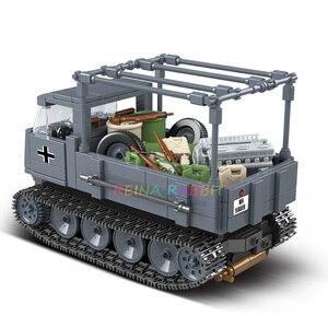 Image 4 - 551PCS גרמנית צבא RSO משוריין משאית עם נשק צבאיים כלי רכב אבני בניין תואם WW2 דמויות צעצועים