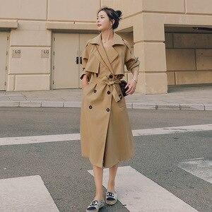 Marke Neue Frühjahr Herbst Lange Frauen Trenchcoat Zweireiher Belted Sturm Klappen Khaki Kleid Lose Mantel Dame Oberbekleidung Mode
