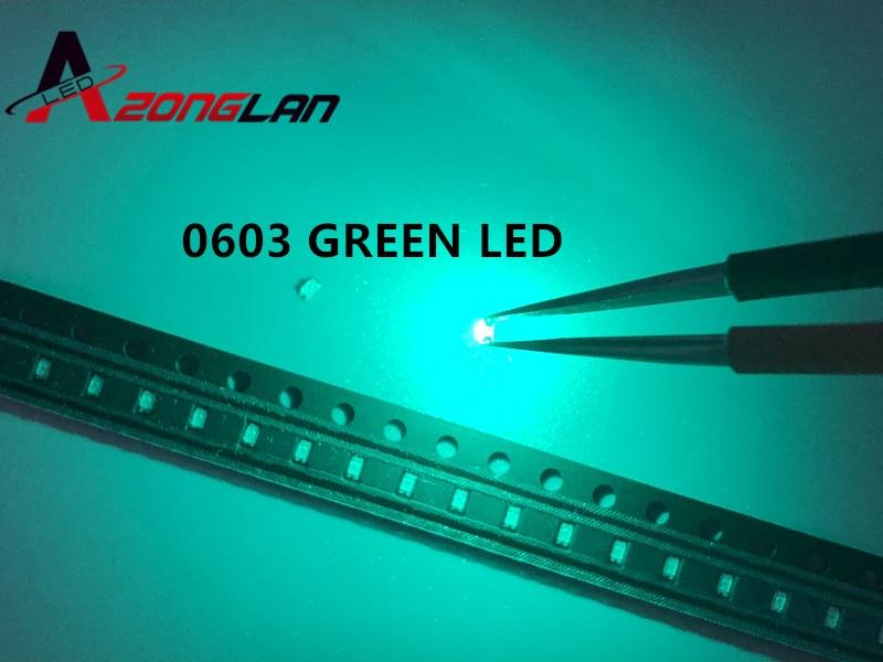 100 pces smd 0603 diodo emissor de luz diodos esmeralda verde esmeralda esmeralda verde 0603 smd led diodo brilhante chips diodi pacote 525nm|Contas iluminadas|   -