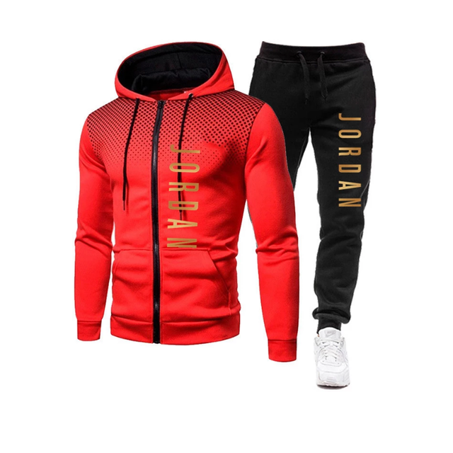2021 fashion hot autumn/winter new menswear zipper hoodie + pants suit casual sports sportswear 1