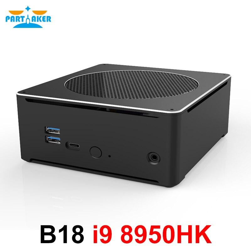 Jeu PC Intel i9 8950HK 6 cœurs 12 fils 12M Cache Mini serveur ordinateur 2 * M.2 2 * DDR4 2666MHz 32GB Win10 Pro 4K HDMI Mini DP