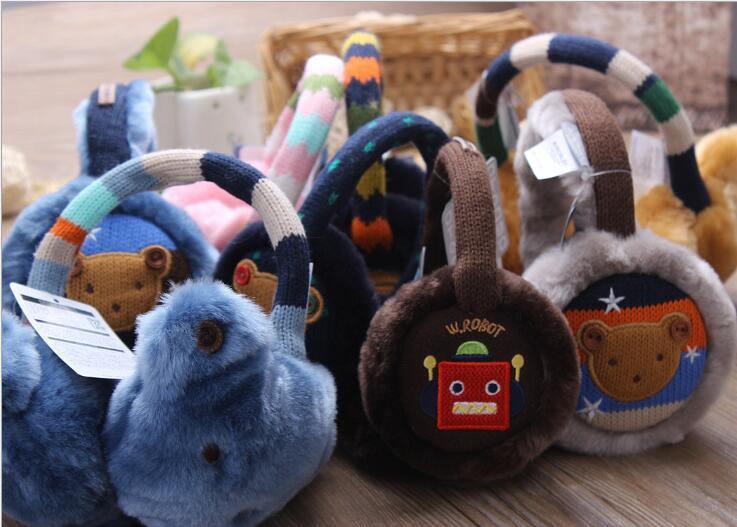 New Winter Children's Ear Muffs Cartoon Velvet Earmuffs For Boys And Girls