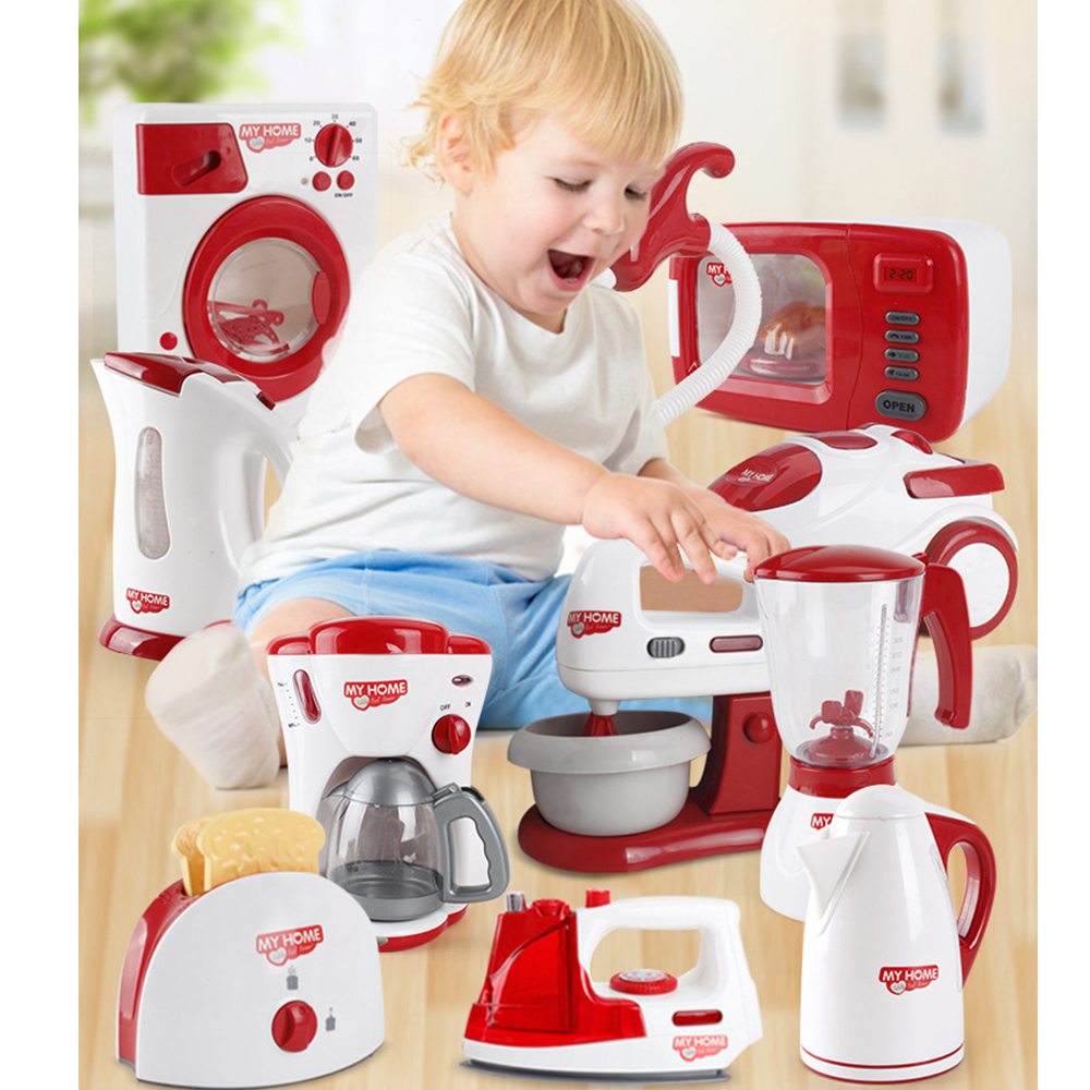 Household Appliances Pretend Play Kitchen Toys Simulation Coffee Machine Toaster Blender Vacuum Cleaner Cooker Toys For Kid Gift