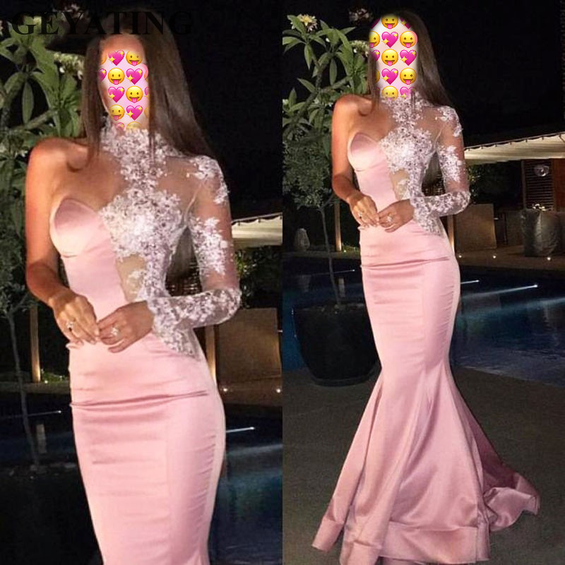 Pink Evening Dresses 2019 Mermaid Long Sleeves High Neck Lace Beaded Saudi Arabic Women Formal Evening Gown Robe De Soiree