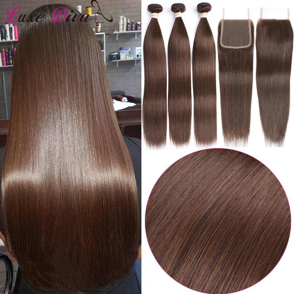 LUXEDIVA Straight Hair Weave Bundles With Lace Closure Pre-Colored Brazilian Human Hair Weave Extensions Remy #2 #4 Brown Hair