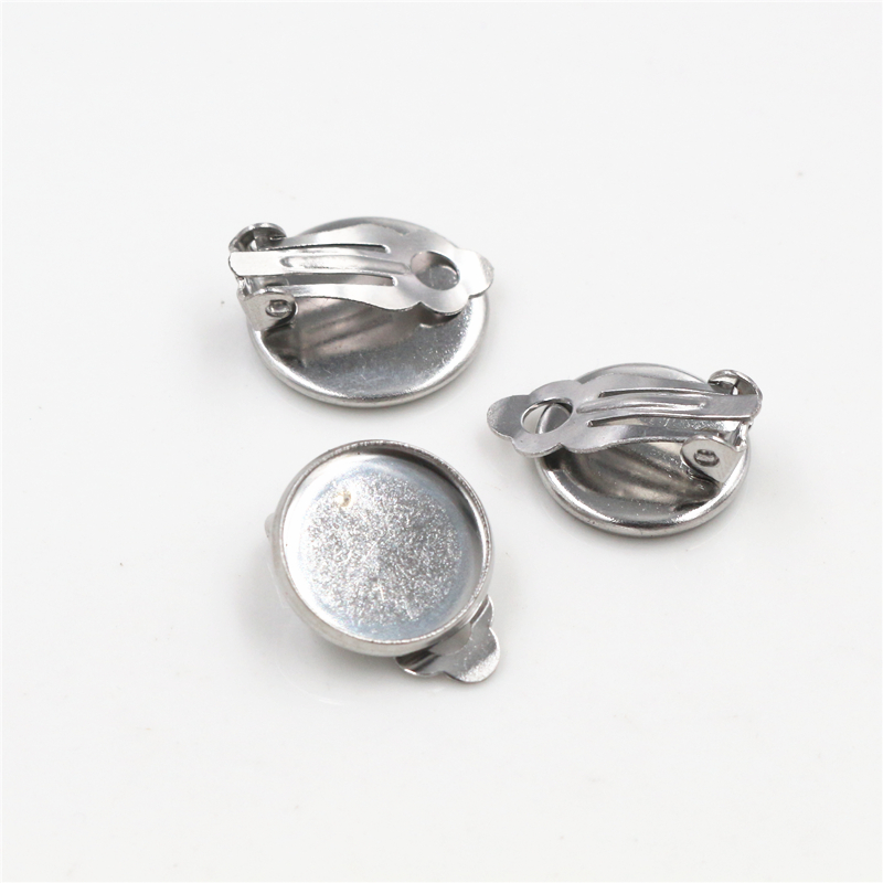 12mm 10pcs/lot Stainless Steel Material Ear Clips ,Stainless Steel Earring Base Cameo Bezels Tray For Jewelry Supplies