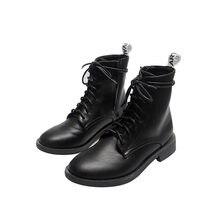 Ins/модные короткие ботинки на осень и зиму женские толстой