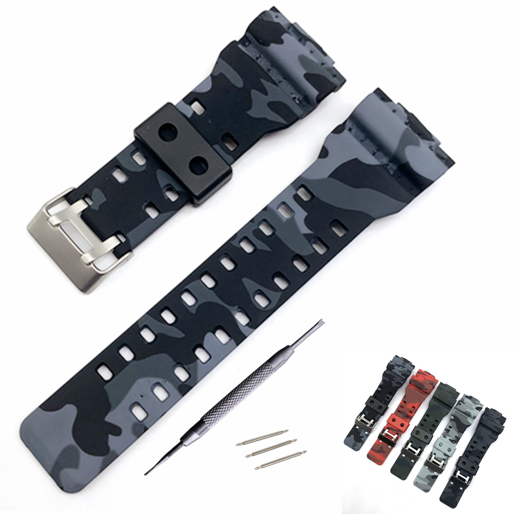 16mm Silicone Watchband For G-Shock GA-110 GA-100 GA-120 GX-56/GXW-56 GR890 Camouflage Rubber Waterproof Men Watch Band Strap