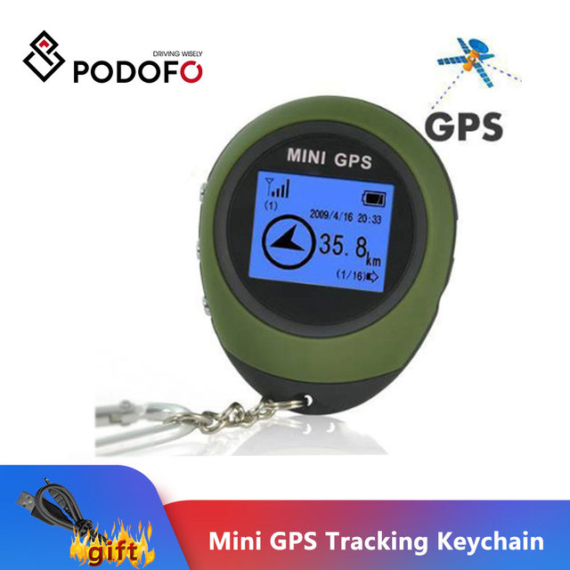 Podofo 미니 GPS 트래커 추적 장치 여행 휴대용 키 체인 로케이터 Pathfinding 오토바이 차량 스포츠 핸드 헬드 키 체인