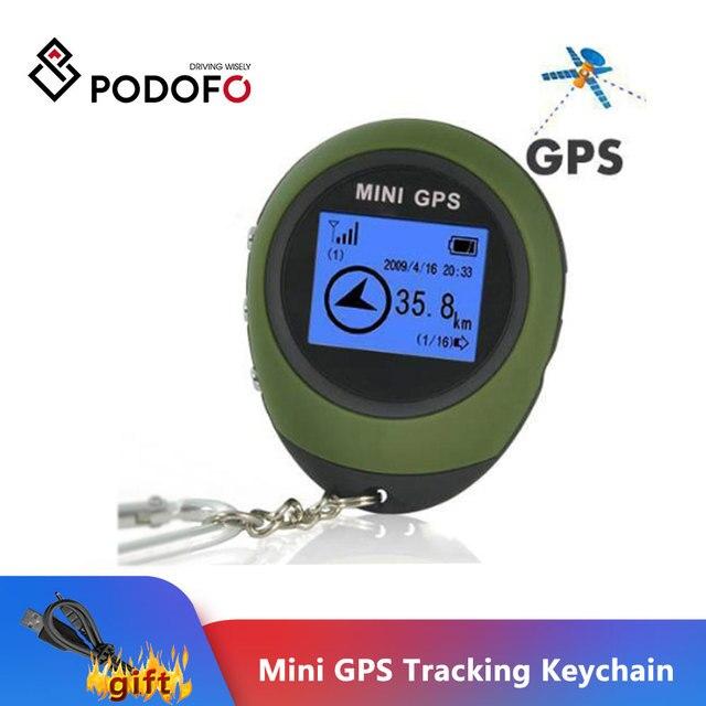 Podofo Mini Gps Tracker Tracking Device Reizen Draagbare Sleutelhanger Locator Pathfinding Motorfiets Voertuig Sport Handheld Sleutelhanger