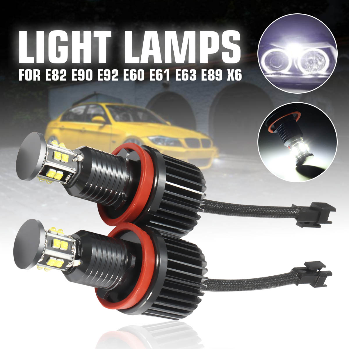 2X 120W H8 LED Angel Eyes Led Marker Lights Headlight For BMW X5 E70  X6 E82 E87 E88 E90 E91 E92 E93 E60 E61 E63 E64 E84 X1 E80
