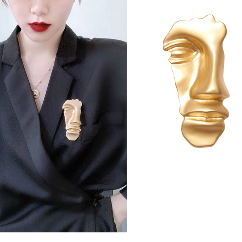 2019New Retro Abstract Mask Golden Face Brooch Suit Men 39 s Women 39 s Prom Fashion Jewelry Accessories Brooch Exaggerated in Brooches from Jewelry amp Accessories