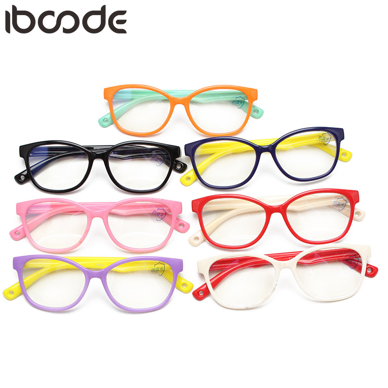 Iboode Kids Glasses Computer Anti Blue Light Flexible TR90 Silicone Girls Boys Optical Frame Prescription Eyewear Oculos De Grau