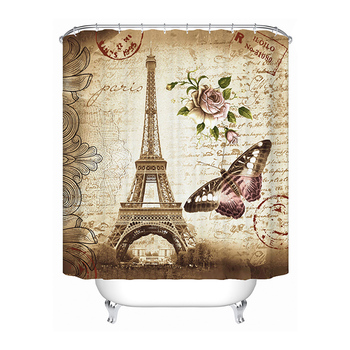 christmas tree snowfield patterned bath shower curtain Paris Eiffel Tower Shower Creative Curtain 3D Bathroom Shower Curtain Window Curtain Bath Mat With Hooks