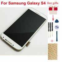 For Samsung Galaxy S4 gt i9500 i9505 i337 Touch Screen Digitizer Glass Sensor + LCD Display Panel Monitor Assembly + Frame