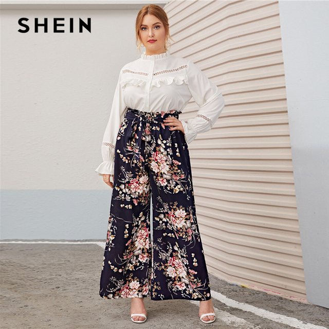SHEIN Plus Size Multicolor Paperbag Waist Floral Print Wide Leg Pants Women Autumn Spring Boho Belted Long Loose Trousers 4