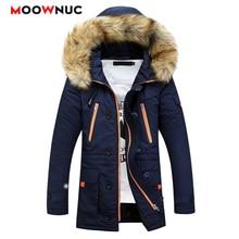 Hombre Parkas Winter Jackets Windbreaker Coats Fashion Slim Mens Overcoat Thick Mid-long Hats Casual Windproof MOOWNUC