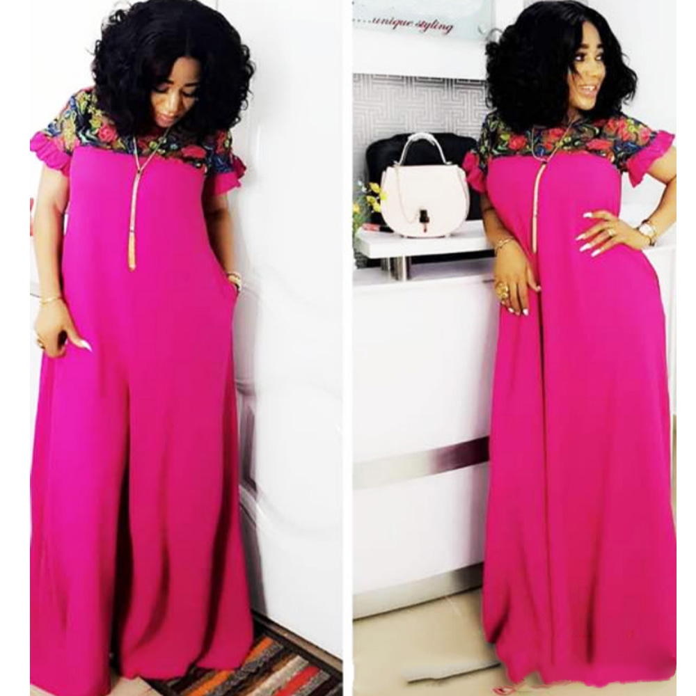 Hot Sale 2019 Summer Short Sleeve Patchwork Lace Embroidery Maxi Dress High Quality Fashion African Dress For Women Dashiki