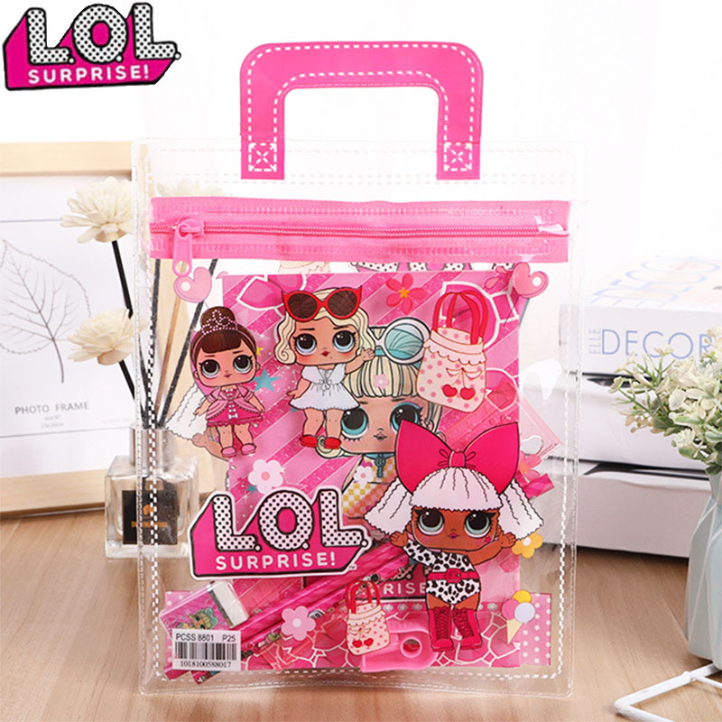 Lol Doll Surprise New Creative Portable PVC Children's Stationery Set Student School Supplies Christmas Gifts