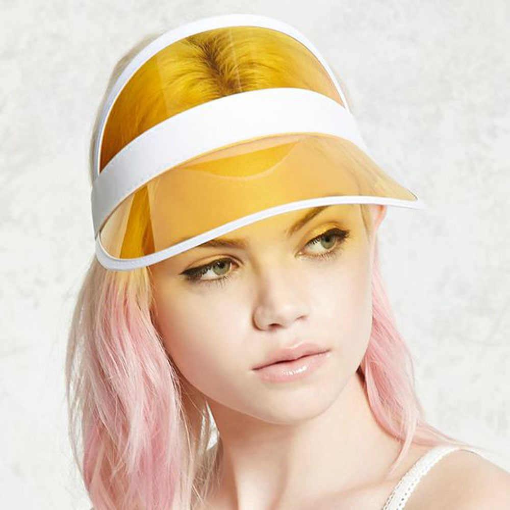 الصيف المرأة قبعة الشمس الحلوى اللون شفافة فارغة أعلى السيدات البلاستيك ظلة قبعة قبعات لا تغطي الرأس بالكامل الإناث عطلة الشاطئ قبعة الشمس