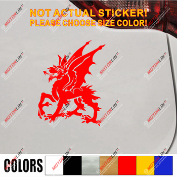 Wales Red Dragon Decal Sticker Welsh Y Ddraig Goch Car Vinyl pick size color j image