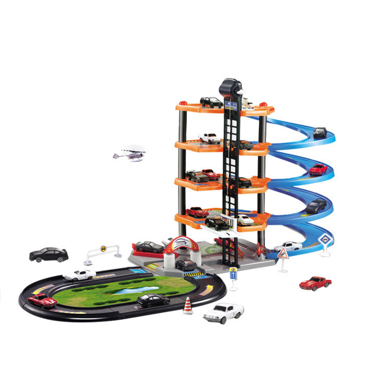 Children Large Size Assembled Parking Camera Track Car Toy Manual DIY Early Education Five-Tier Plastic Tracks with 5 Car Free