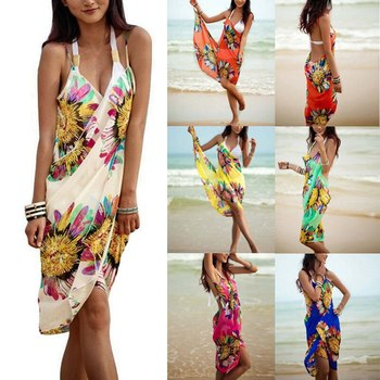 2020 Bohemian Women Summer Beach Dress Bikini Cover-ups Swim Wear Cover Up Cotton Tunic Sexy Deep V-