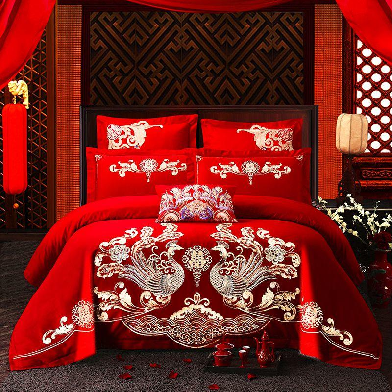 Chic Phoenix Embroidery Chinese Style Wedding Red 100% Cotton Princess Bedding Set Duvet/Quilt Cover Bed Sheet Linen Pillowcases