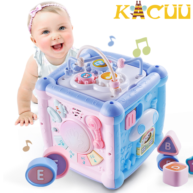 Multifunctional Musical Toys Toddler Baby Box Music Activity Gear Beading Geometric Blocks Sorting Early Educational Toys Gifts