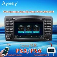 Px6 rádio do carro 2 din android 10 dvd player autoradio áudio para mercedes benz ml gl classe w164 ml350 ml500 gl320 navegação gps 4g