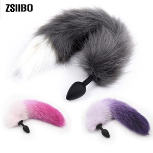 Silicone Anal Plug Faux Fox Tail Butt Plug Women sex toys for women Sexy Gradient Color Tail Exotic Accessories toys for adults