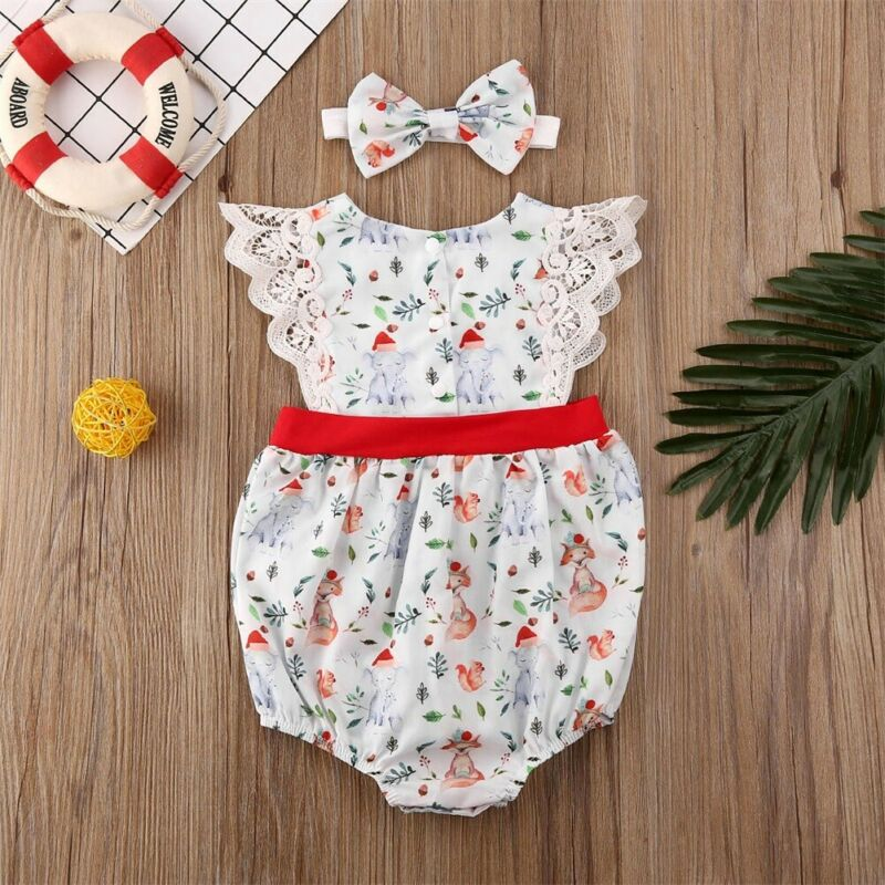 Emmababy Xmas Newborn Baby Girl Christmas Animal Printed Lace Patchwork Lovely Bodysuits Outfit Clothes 2PCS