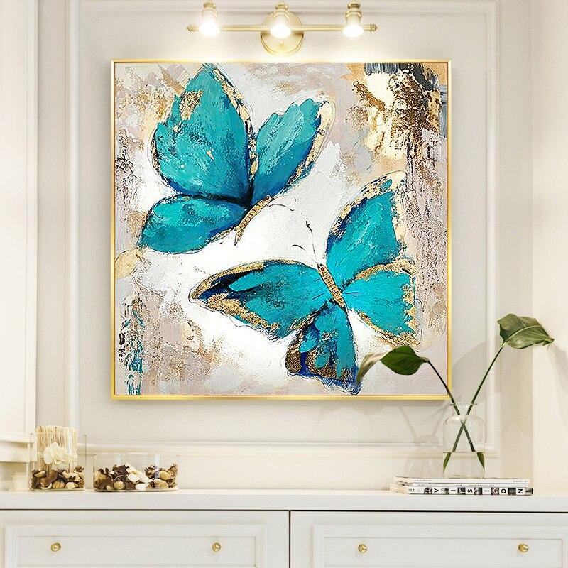Две Синие Бабочки картина маслом на холсте настенные художественные плакаты и принты скандинавские настенные картины для гостиной домашни...