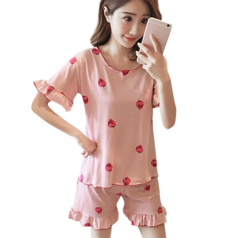 Women Summer Cartoon Strawberry Trumpet Sleeve Shorts Comfortable Round Neck Loose Home Pajamas Set