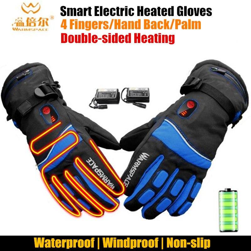 4000MAH Smart Electric Heating Gloves,Waterproof Li-Battery Double-side Self Heated 4-Finger/Palm/Hand Back Ski Gloves,3 Gear EU